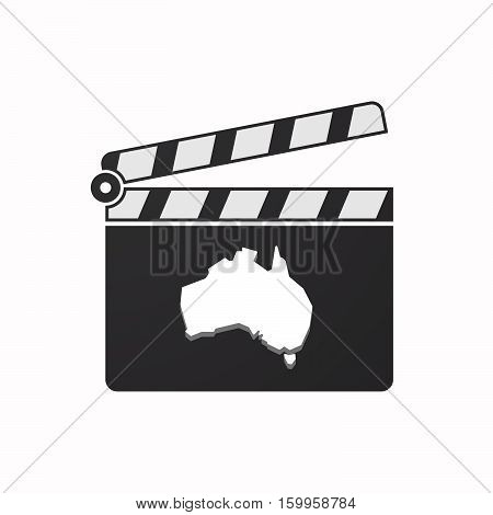 Isolated Clapper Board With  A Map Of Australia
