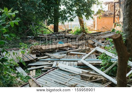 Destroyed by the earthquake building. People were left without homes.