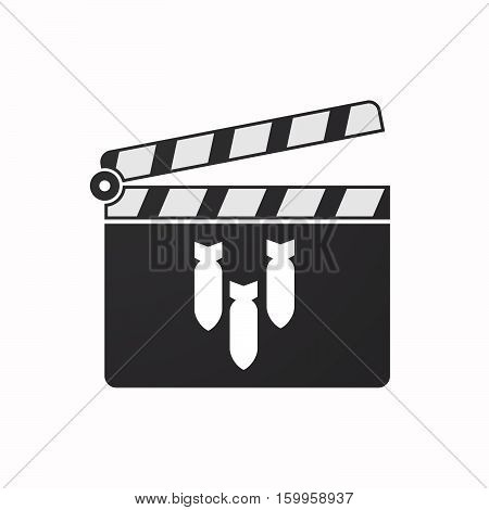 Isolated Clapper Board With Three Bombs Falling