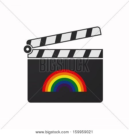 Isolated Clapper Board With A Rainbow