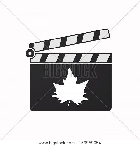 Isolated Clapper Board With An Autumn Leaf Tree