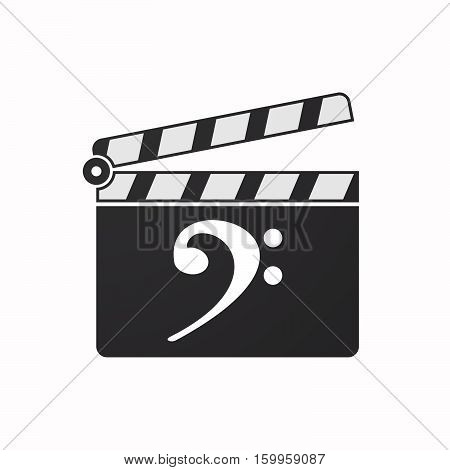 Isolated Clapper Board With An F Clef