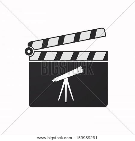 Isolated Clapper Board With A Telescope