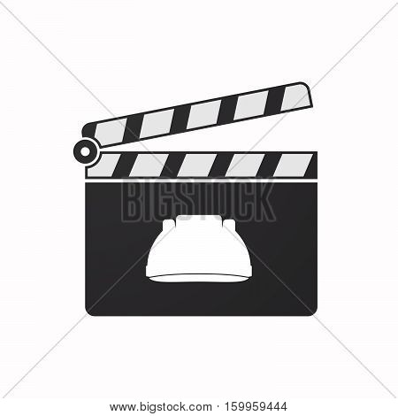 Isolated Clapper Board With A Work Helmet