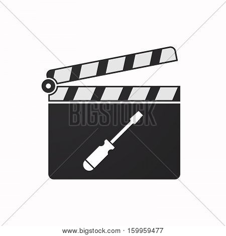 Isolated Clapper Board With A Screwdriver