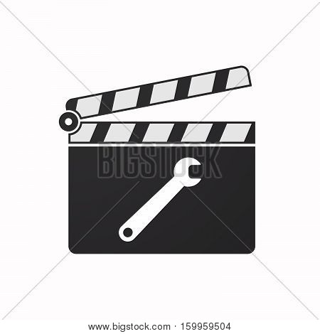 Isolated Clapper Board With A Spanner