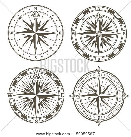 Vintage nautical compass signs vector set, retro direction symbols. Collection of vintage compass, illustration of compass silhouette with wind rose