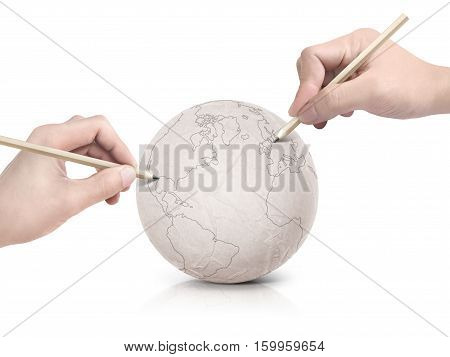 Two hand stroke drawing America map on paper ball on white background