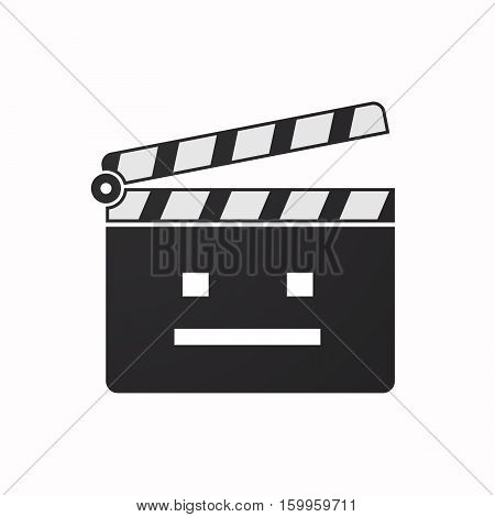 Isolated Clapper Board With A Emotionless Text Face