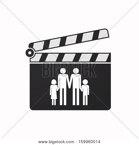 Isolated Clapper Board With A Gay Parents  Family Pictogram