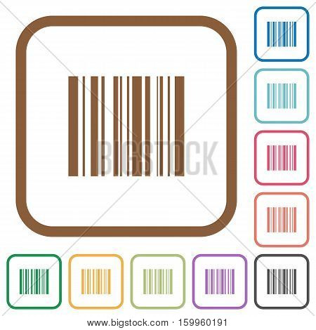 Barcode simple icons in color rounded square frames on white background