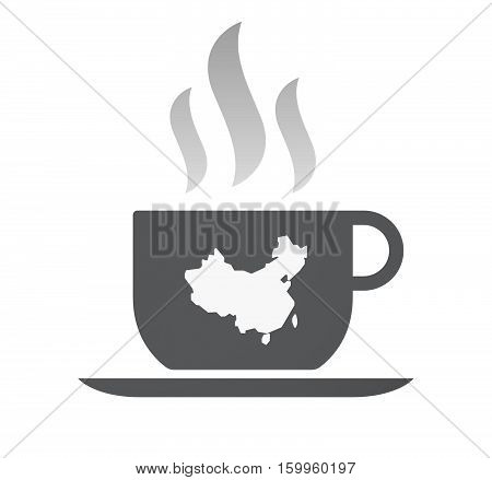 Isolated Coffee Cup With  A Map Of China
