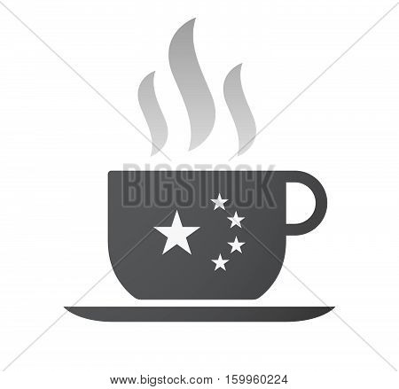 Isolated Coffee Cup With  The Five Stars China Flag Symbol