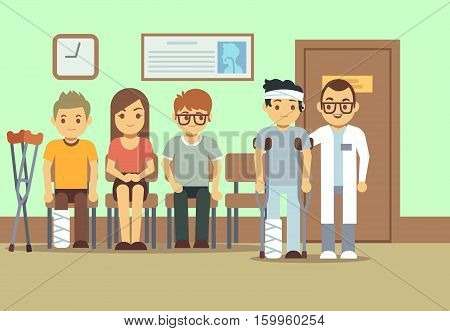 Patients in doctors waiting room at the hospital, medical clinic. health care vector concept. People waiting in clinic, illustration of queue of sick people to doctor