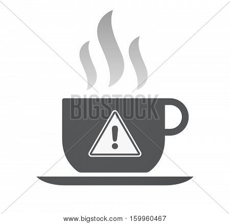 Isolated Coffee Cup With A Warning Signal