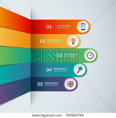 Infographic template in the form of broken colored paper strips. Vector banner for business infographics with 5 options. Can be used for graph, diagram, chart, number and step options, web design