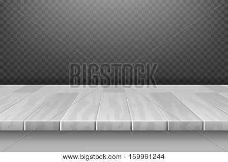 Wood white desk, table top surface in perspective isolated on plaid backdrop vector illustration. Board table surface, hardwood frame table panel