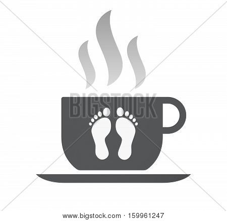 Isolated Coffee Cup With Two Footprints