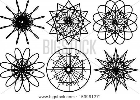 Set of spirograph circular shapes. Web design elements isolated on white background. Flowers and snowflakes. Vector