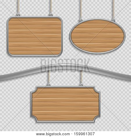 Vector empty wooden hanging signs isolated. Wooden banners set, illustration of wooden panel frame