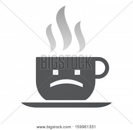 Isolated Coffee Cup With A Sad Text Face