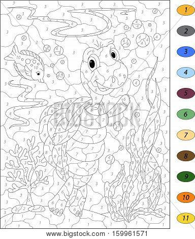 Cartoon Turtle And Fish In The Ocean. Color By Number Educational Game For Kids