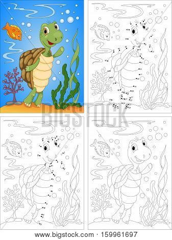 Turtle In The Ocean. Coloring Book And Dot To Dot Game For Kids
