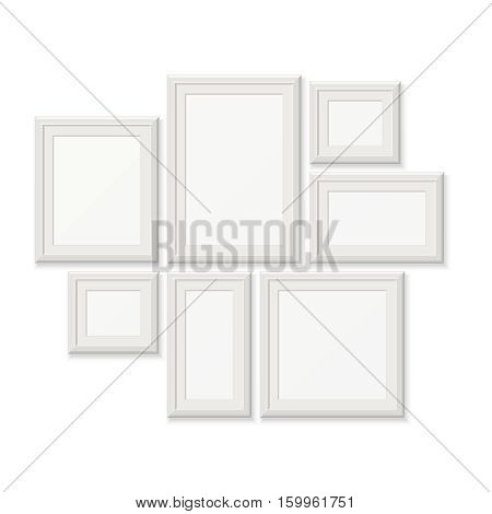 Empty white pocture frames, 3d photo borders isolated on white wall. Set of frames for photo, gallery with photography frame illustration