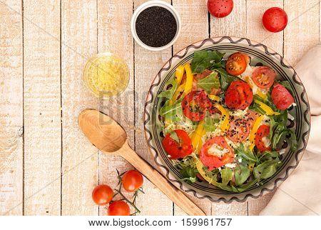 Salad Of Fresh Ripe Homegrown Vegetables. Ingredients For Preparing Salad.