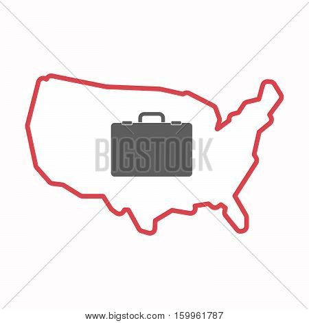 Isolated Map Of Usa With  A Briefcase