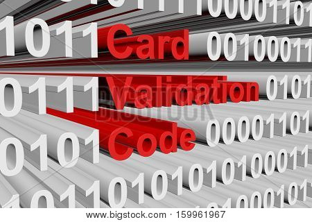 Card Validation Code in the form of binary code, 3D illustration