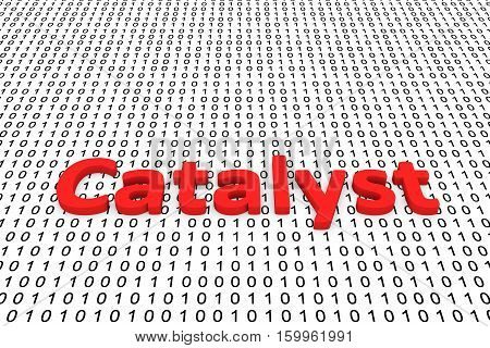 Catalyst in the form of binary code, 3D illustration
