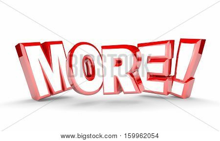 More Added Additional Word Extra Increase 3d Illustration
