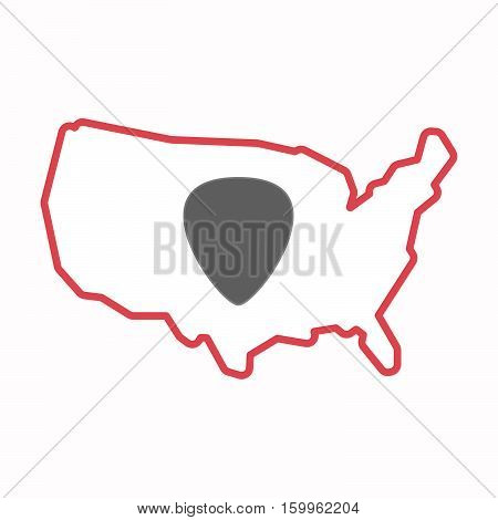 Isolated Map Of Usa With A Plectrum