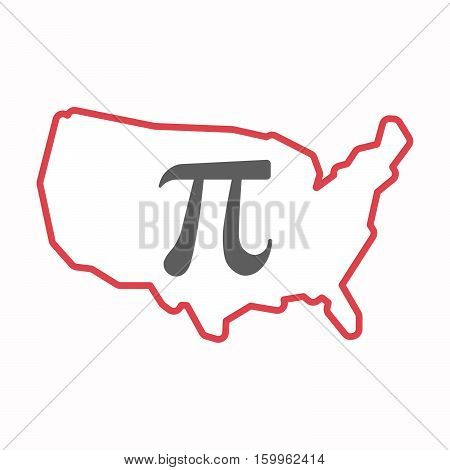Isolated Map Of Usa With The Number Pi Symbol