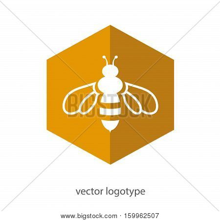 Bee icon. Vector flat logo. Stock illustration for design on white background.