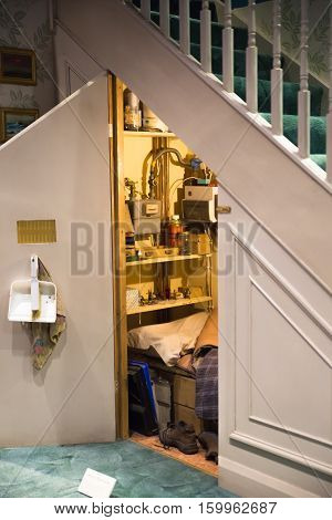 Leavesden, London, UK - 1 March 2016: The cupboard  under the stairs, Warner Brothers Studio display of decorations for Harry Potter film
