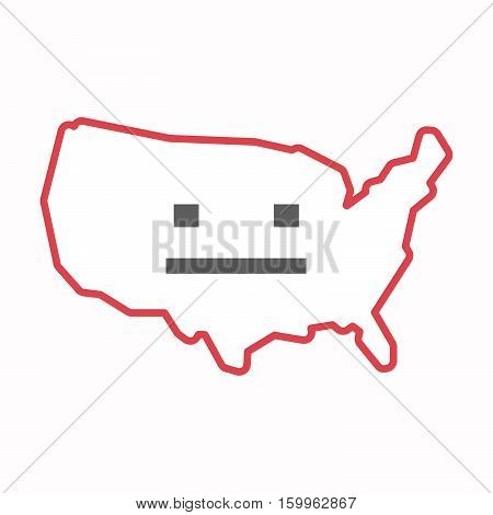 Isolated Map Of Usa With A Emotionless Text Face