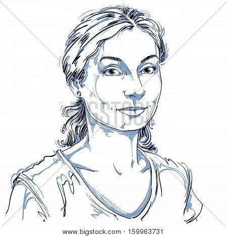 Hand-drawn Vector Illustration Of Beautiful Kind Woman. Monochrome Image, Expressions On Face Of You