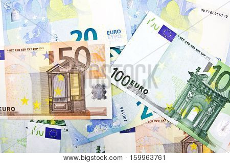 Close up of Euro banknotes money background