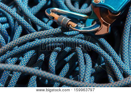For safety. Close up of insurance rope for climbing lying in climbing gym.