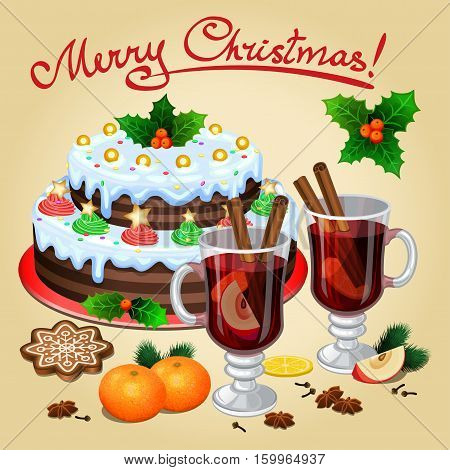 Christmas mulled wine with spices mandarines christmas cake. Vector illustration
