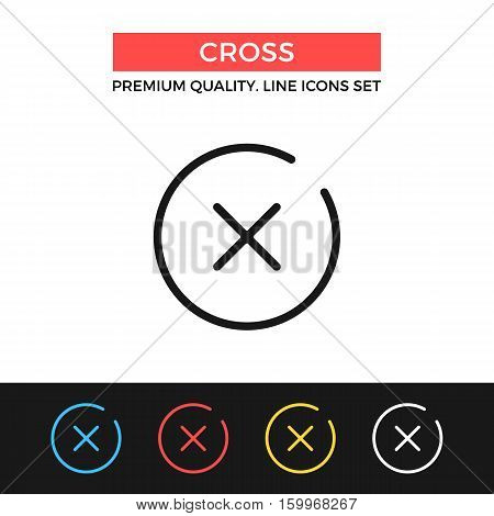 Vector x mark icon. Cross, close button concept. Premium quality graphic design. Modern signs, outline symbols collection, simple thin line icons set for websites, web design, mobile app, infographics