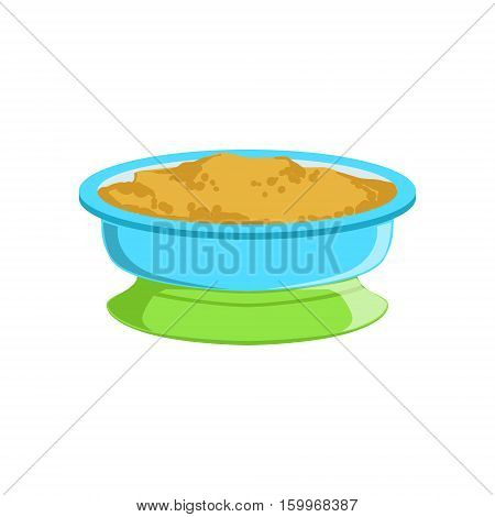 Grain Porridge In Plate Supplemental Baby Food Products Allowed For First Complementary Feeding Of Small Child Cartoon Illustration. Colorful Flat Vector Drawing With Meal Allowed For Toddler Proper Diet.