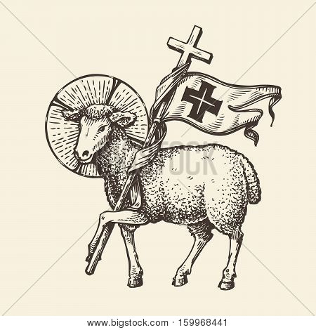 Lamb or sheep holding cross. Religious symbol. Sketch