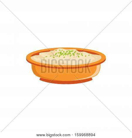 Rice Pudding In Bowl Supplemental Baby Food Products Allowed For First Complementary Feeding Of Small Child Cartoon Illustration. Colorful Flat Vector Drawing With Meal Allowed For Toddler Proper Diet.