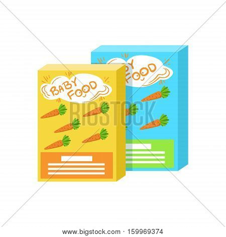 Carton Boxes With Fresh Carrot Juice Supplemental Baby Food Products Allowed For First Complementary Feeding Of Small Child Cartoon Illustration. Colorful Flat Vector Drawing With Meal Allowed For Toddler Proper Diet.