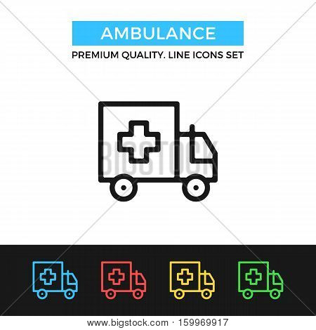 Vector ambulance icon. Medical care, emergency. Premium quality graphic design. Modern signs, outline symbols collection, simple thin line icons set for websites, web design, mobile app, infographics