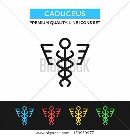 Vector caduceus icon. Premium quality graphic design. Modern signs, outline symbols collection, simple thin line icons set for websites, web design, mobile app, infographics