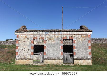 Old tramway station in the destroyed village of Oradour sur Glane France